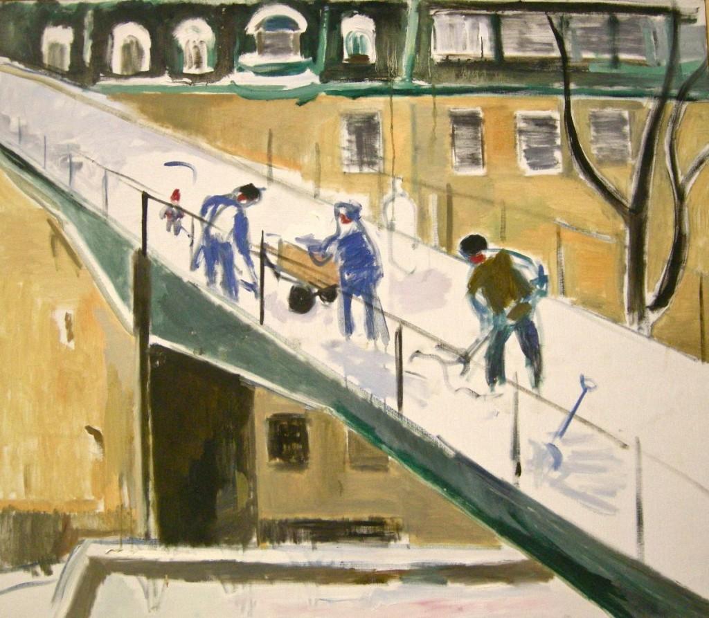 snöskottare på katarinahissens gångbro, Holger Almqvist