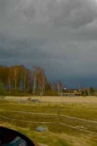 regntunga skyar